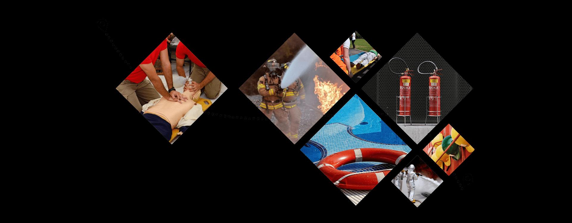 Imagens dos serviços da Red Safety: maqueiros, bombeiros civis, guardião de piscina, aluguel de equipamentos de segurança e primeiros socorros.